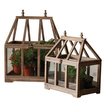 Wood & Glass Terrariums (Set of 2)