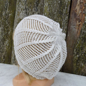 Knit hat, knitted lace cotton beanie, knitting summer cap, white hat, women beret, knit accessories, small slouche, handmade clothing, tam