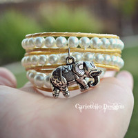Golden Pearl Sunset with Elephant Charm Wrap Bracelet and Anklet