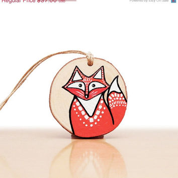 Holiday Ornament, Fox Ornament, Christmas Tree Wooden Ornament, Fox Art Stocking Stuffer with Gift Box