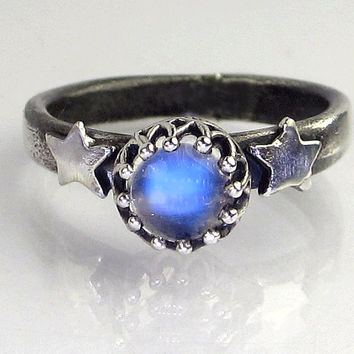 Blue Flash Rainbow Moonstone Cabochon Ring in Sterling Silver