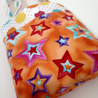 Toddler tote little girl purse stars and dots purse orange tote little girl birthday gift toddler gift tot tote water resistant lining