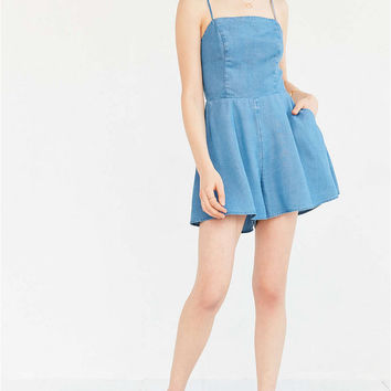 Blue Denim Backless Flounced Mini Dress