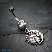 Sun & Moon Union of Opposites Belly Button Ring