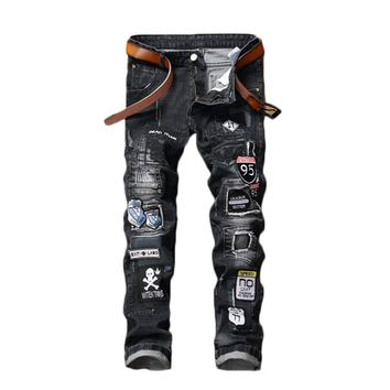 Mens Punk Jeans Skull Embroidery Patchwork Denim Pants