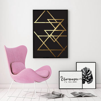 Abstract Print Poster, Gold Triangles Print, Geometric Print Poster, Minimalist Poster, Triangles Print, Triangles Wall Art.