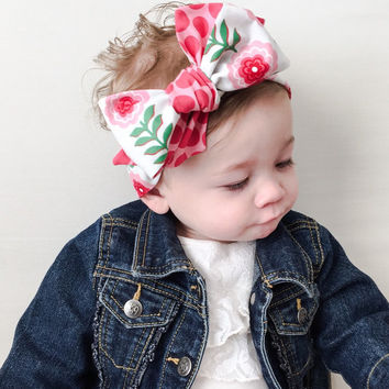 Pink Floral Baby Head Wrap - Pink Polka Dot Baby Headwrap - Big Bow Baby  Headwrap 04bb160ab0e