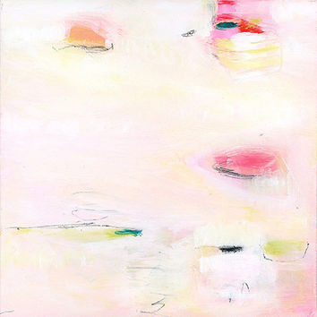 """Abstract Painting. Original art. Acrylic, contemporary art. Pink, yellow, pastels. Modern painting. 12x12"""""""