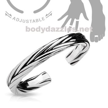 Silver Adjustable Double Braided Toe Ring