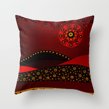 Red spring Throw Pillow by Viviana Gonzalez
