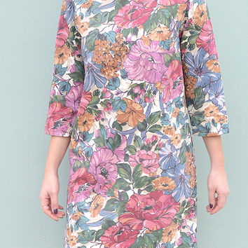 Long Sleeve Shift Dress in Rich Floral Handmade by Laura Ralph