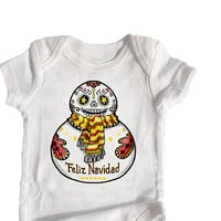 Mexican Christmas 3, 6, 12 month baby bodysuit Talavera Snowman Feliz Navidad Trendy Day of the Dead Funny Holiday Shirt Unisex Boy Girl
