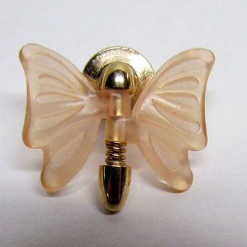 Vintage Avon Butterfly Pin Gold Tone and Plastic wings, Costume Jewelry