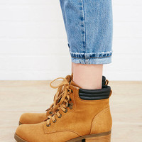Chunky Heel Faux Leather Combat Boots | Wet Seal