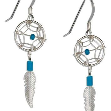 Sterling Silver Earrings: Small Simulated Turquoise Dreamcatcher Earrings With Feather