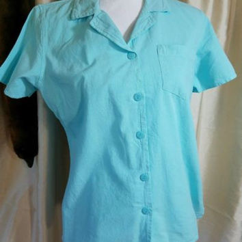 NWT Basic Editions  Button Down Shirt Cotton Blend Women's M short sleeve TEAL