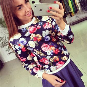 Floral Print Long Sleeve Sweater