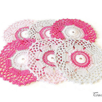 Crochet coasters, Colorful Coasters, Set of 6 coasers, Cup Coasters, Crochet Table decoration, Sottobicchieri Colorati (Cod. 27)