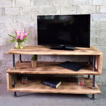 Tucson Modern Industrial TV Stand In Brushed Brass Gray Steel Combo With Natural Stained Wood