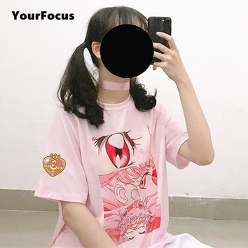 summer 2018 harajuku cute kawaii sweet fantasy girl cartoon Sailor Moon t shirt women loose tops in pink