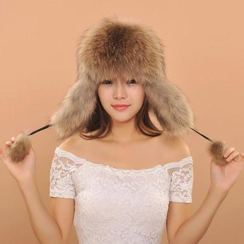 DCCKU62 2016 Women Warm Winter Fox Fur Earflaps Leather Hats For Female Fur Balls Ladies Cap
