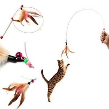 Multicolor Wire Chaser Wand Teaser Feather Bell Beads Play Fun Pet Cat Toy