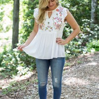 Nora Embroidered Top, Off White