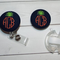 Personalized Stethoscope ID name tag AND id reel - monogrammed button - pineapple with monogram 3 cirle initials custom