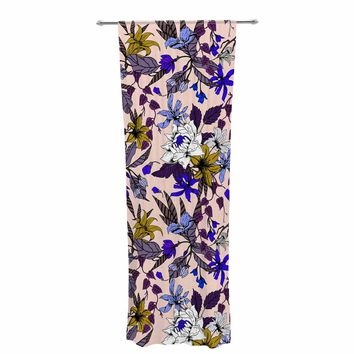 "mmartabc ""Flowering Floral Botanic I"" Pink Purple Floral Nature Illustration Vector Decorative Sheer Curtain"