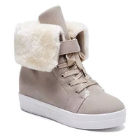 Flock Lining Flat Heel Snow Boots With Lace Up