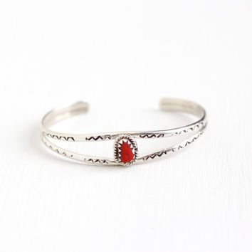 Vintage Sterling Silver Red Coral Cuff Bracelet - Children's Baby Retro 1960s Native American Style Southwestern Boho Tribal Jewelry