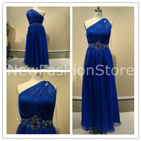 A Line One Shoulder Sleeveless Beading Floor Length Blue Prom Evening Dress