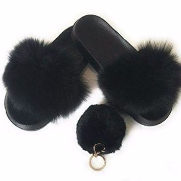 LMFIX5 Fur Slipper For women .fashion 2017 with free pom pom keychain
