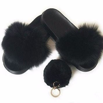 DCCK2JE Fur Slipper For women .fashion 2017 with free pom pom keychain
