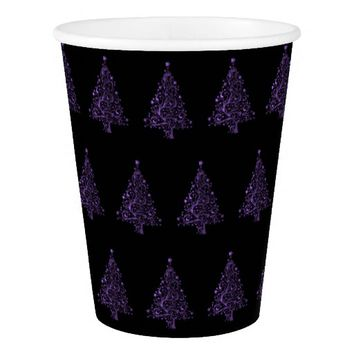 Christmas Tree Pattern Purple Black Elegant Paper Cup