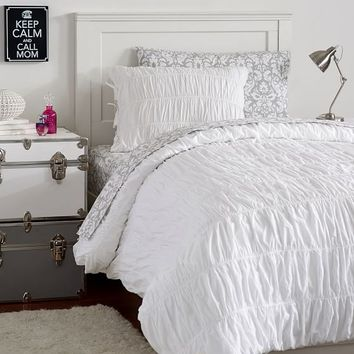 RUCHED & DECORATOR DAMASK DELUXE VALUE DUVET SET