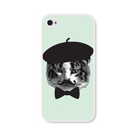 Mint Green Cat Apple iPhone 4 Case - Plastic iPhone 4s Case - Funny iPhone Case Skin - Mint Grey Black French Mustache Beret Cell Phone
