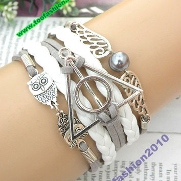 Harry potter bracelets gray snitch bracelet owls bracelet wings bracelet charm bracelet with leather bracelet wholesale bracelets T2