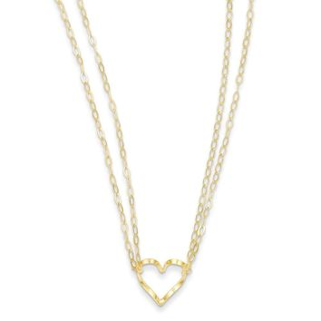 14K Yellow Gold Adjustable Double Strand Heart Necklace 16 Inch