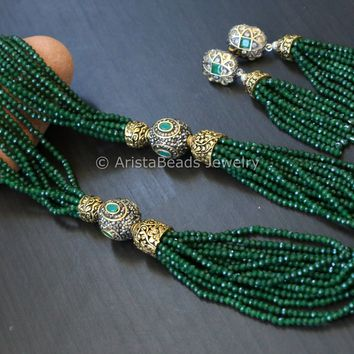 Contemporary Layered Crystal Beads Necklace - Green