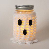 Ghost Mason Jar Candle, Flameless Candle, Halloween Decor, Crochet Fall Jar Decoration