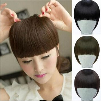 2015 New Pretty Girls Clip on Clip In Front Hair Bang Fringe Hair Extension Straight