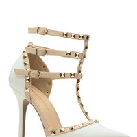 White Faux Patent Leather Studded Pointed Toe Single Sole Heels