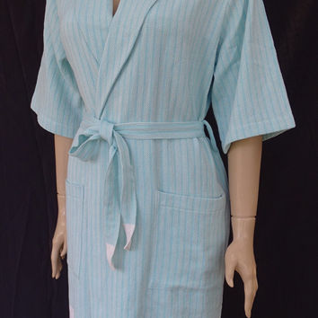 Bright turquoise colour little herringbone patterned soft cotton kimono bathrobe, bridesmaid robe, dressing gown, pool robe, beach robe.