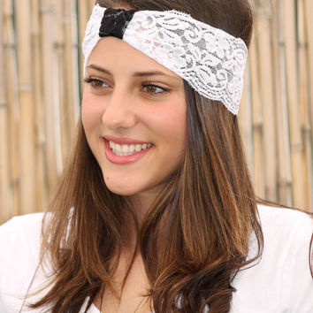 White Lace Headband with Black lace wrap, Elastic Headband, Women Hair Accessories, Wedding Bridesmaids Hair Wrap, Black and Whit Head Band
