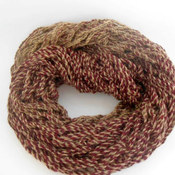 Arm Knit Scarf - Brown Red Scarf - Chunky Cowl - Arm Knit Cowl - Soft Scarf - Chunky Brown Cowl - Long Scarf - Ideal Gift - Womens Gift