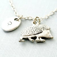 Hedgehog Necklace,Personalized Initial Necklace,Initial hand stamped,Personalized Necklace, Initial Necklace,Animal Necklace