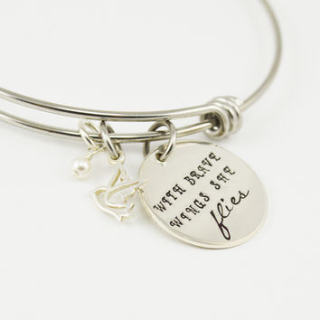 With Brave Wings She Flies Adjustable Bangle Bracelet with Dove Charm