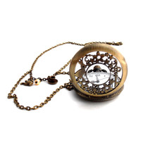 Alice Tea Party Clock Necklace,  Steampunk Pocket Watch Locket, Alice In Wonderland Jewelry