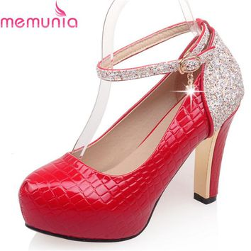MEMUNIA 2018 spring autumn fashion wedding shoes bride thick high heels round toe platform buckle elegant women pumps